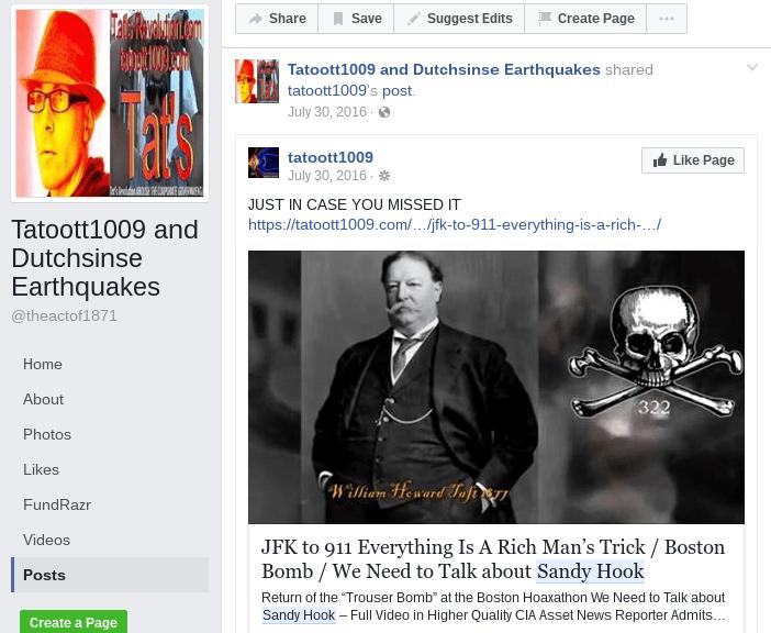 Dutchsinse Hoaxer Facebook Page (Tatoott1009 and Dutchsinse Earthquakes)
