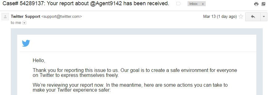 Agent19 kicked from Twitter with case number!