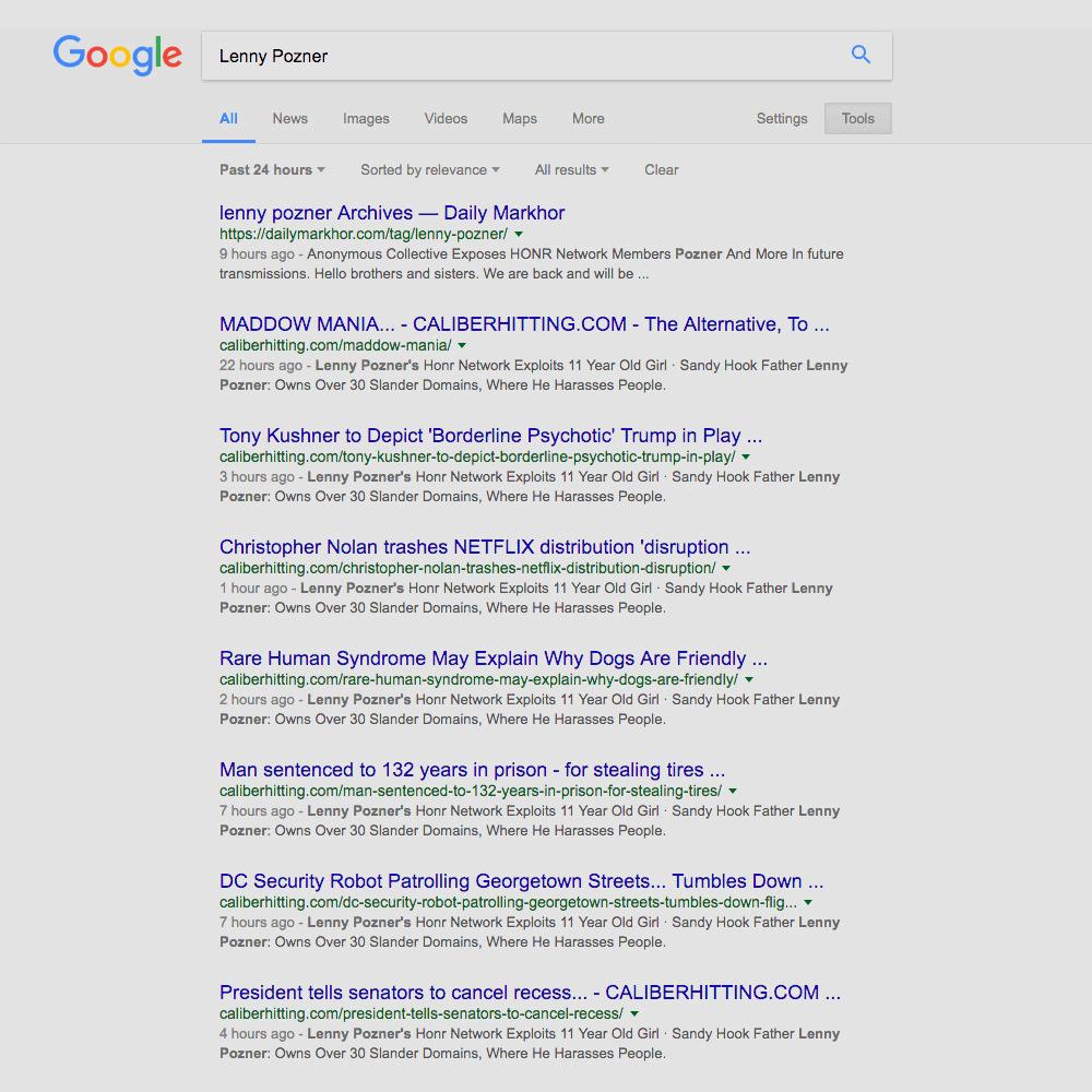 Lenny Pozner Google results SPAMMED by Felix Pantaleon