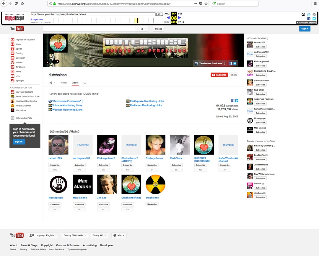 Dutchsinse Hoaxer connections on YouTube Channel About section.