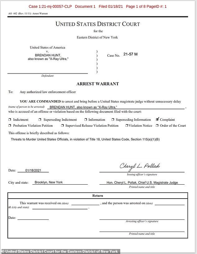 Brendan Hunt - Warrant for Arrest
